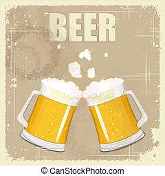 vinhøst, postkort, afdækket, menu, -, øl