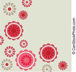 vinhøst, retro, card, rose
