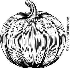 vinhøst, retro, woodcut, pumpkin