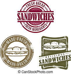 vinhøst, sandwich, deli, frimærker