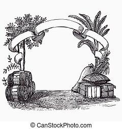 vinhøst, tønde, gravering, ephemeral, vektor, illustration