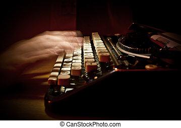 vinhøst, typing, skrivemaskine