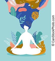 vinhøst, vektor, illustration, baggrund, farver, stress, bruge, angsten, coping, yoga., kvinde, meditating., mindfulness, siddende, meditation, pastel, med benene over kors