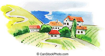 vinhedo, paisagem, aquarela, pintado