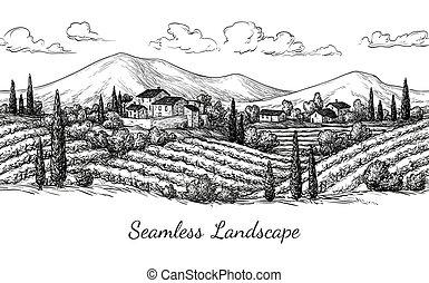 vinhedo, paisagem., seamless