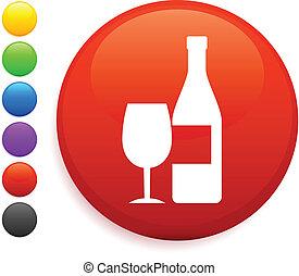 vinho, ícone, ligado, redondo, internet, botão