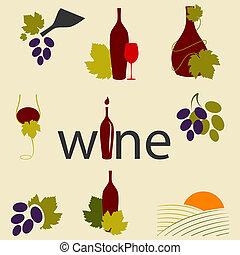 vinho, ícones