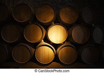 vinho, barris, em, um, antigas, porão vinho