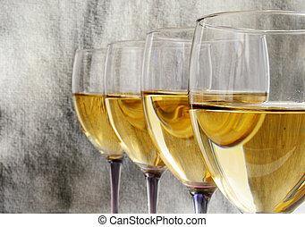 vinho branco, linha, óculos