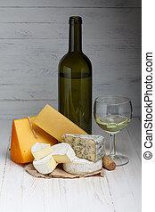 vinho branco, queijo, ligado, tabela madeira