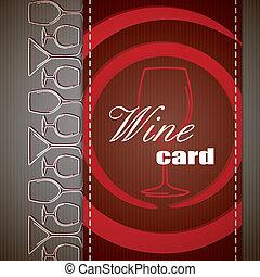 vinho, cartão, design.