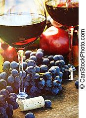 vinho, closeup, uvas vermelhas, óculos