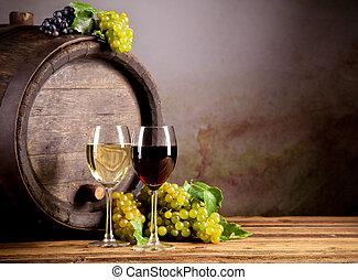 vinho, com, barril