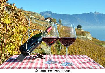 vinho, contra, genebra, lago, suíça
