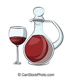 vinho, copo, garrafa, bebida