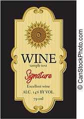 vinho, desenho, etiqueta