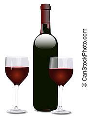 vinho, dois, garrafa, óculos