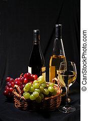 vinho, e, uvas