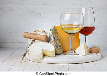 vinho, e, variedade queijo, ligado, tabela madeira, ainda-vida