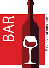 vinho, e, vidro, vetorial, desenho, modelo