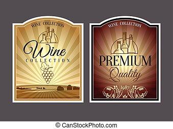 vinho., etiquetas, jogo
