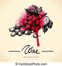 vinho, ilustração, aquarela, experiência., vindima, mão, desenhado