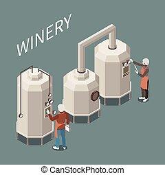 vinho, isometric, producao, composição