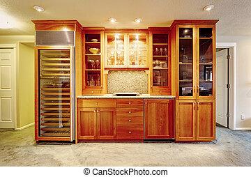 vinho, modernos, armazenamento, combinação, gabinete
