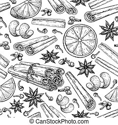 vinho mulled, ingradients, seamless, pattern., vara canela,...