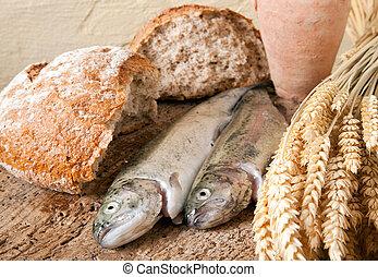 vinho, pão, e, peixe