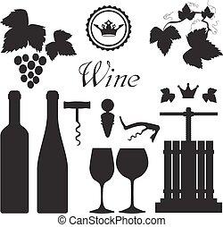 vinho, pretas, cobrança, ícones