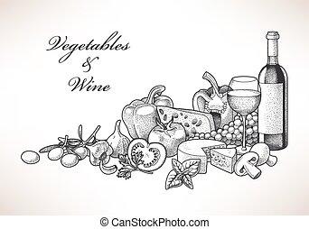 vinho, queijo, legumes