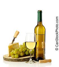 vinho, queijo, uvas