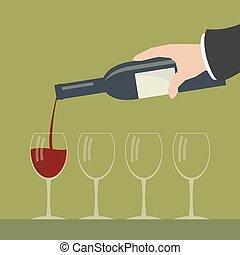 vinho., servindo
