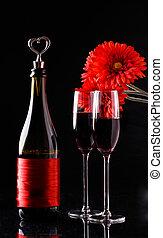 vinho tinto, óculos, tabela