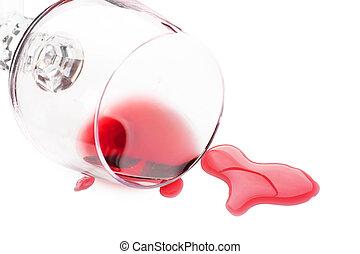 vinho tinto, derramado, de, vidro