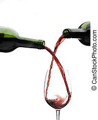vinho tinto, despejar, baixo, de, um, garrafas vinho