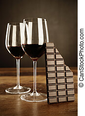 vinho tinto, e, barra chocolate