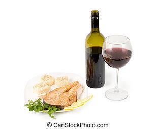 vinho tinto, e, bife salmão