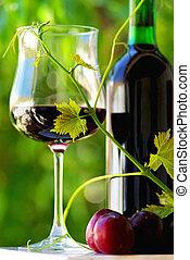 vinho tinto, e, fruits.