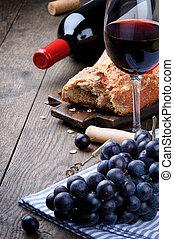 vinho tinto, e, uvas