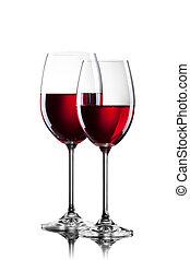 vinho tinto, em, óculos, isolado, branco