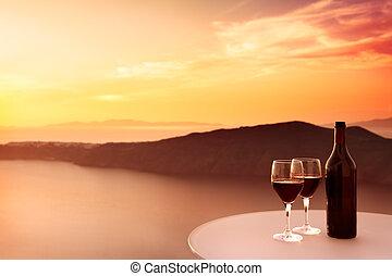 vinho tinto, pôr do sol