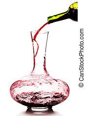 vinho tinto, sendo, despejado, em, um, decanter