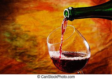 vinho tinto, sendo, despejado, em, vidro vinho