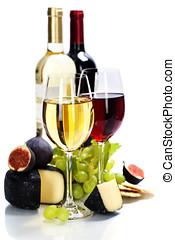vinho, uva, queijo