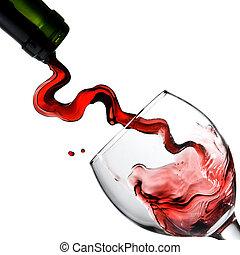 vinho vermelho derramando, em, vidro, goblet, isolado,...