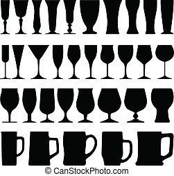 vinho, vidro cerveja, copo