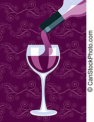 vinho vidro, fundo, garrafa, composição