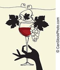 vinho vidro, gr, segurando mão
